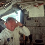 Buzz Aldrin, photographed by Neil Armstrong, wearing his intravehicular suit made from the same fabric as the outer layer of the spacesuits.