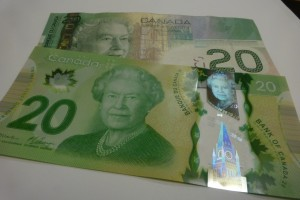 Canada's new currency is made of a specialized polymer base, which allows for many security features.