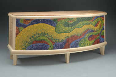 Bonnie Bishoff and J.M. Syron Meander Credenza Polymer Art
