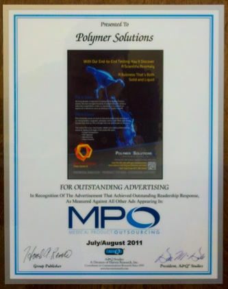 Polymer Solutions Incorporated Wins MPO Advertising Award