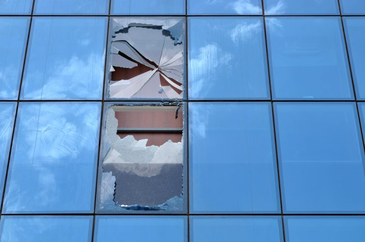 shattered-window-of-office-building